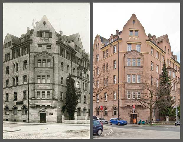 Das Eckhaus Bielingstraße 25, aufgenommen 1911 und 2016.