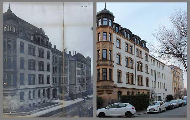 Die Häuser Blumenthalstraße 8, 6, 4 und 2, aufgenommen 1915 und 2015.