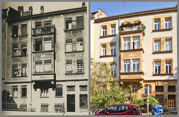 Man muss schon genau hinsehen, um den Wandel am Haus Hochstraße 42 zu erkennen, hier zu sehen in zwei Aufnahmen von 1919 und 2016.