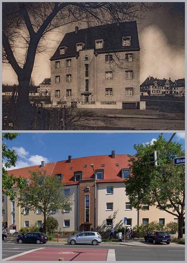 Das Haus Bismarckstraße 175, aufgenommen 1930 und 2018