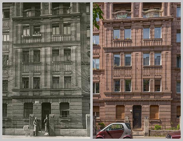 Das Haus Humboldtstraße 111, aufgenommen um 1925 und 2018
