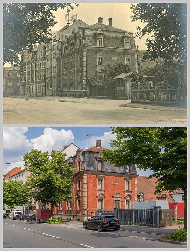 Die Häuser Schweinauer Hauptstraße 67 bis 71, aufgenommen 1913 und 2018.