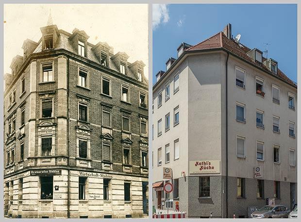 Das Eckhaus Stabiusstraße 1, aufgenommen 1918 und 2018.
