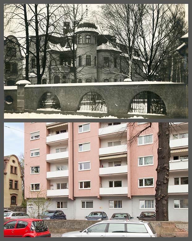 Das Anwesen Pirckheimerstraße 11, aufgenommen 1910 und 2016.