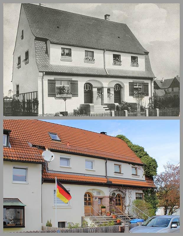 Das Doppelhaus Zum Felsenkeller 2-4, aufgenommen 1920 und 2016.