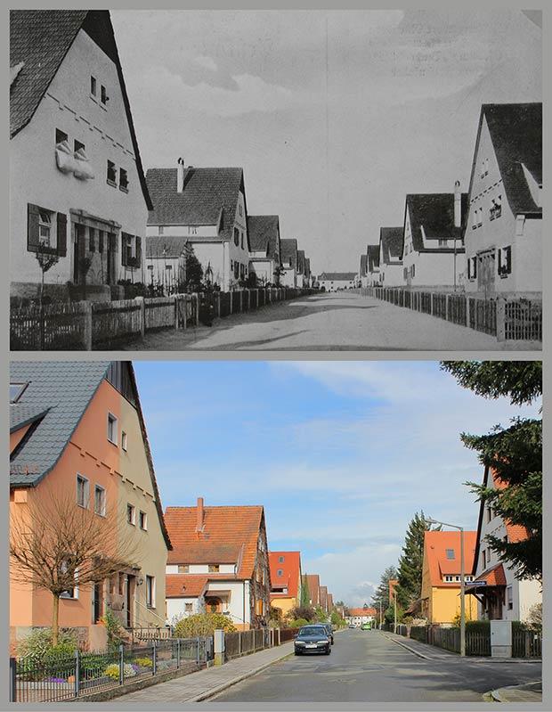 Die Straße Zum Felsenkeller, 1920 und 2016 von der Einmündung Waldherrenstraße gegen Osten gesehen.