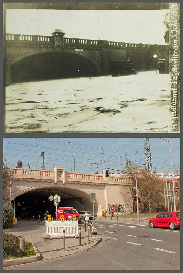 Das Südportal des Tafelfeldtunnels, aufgenommen 1914 und 2016.