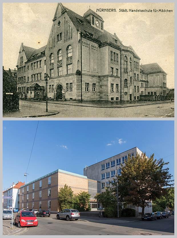 Das Schulhaus in der Nunnenbeckstraße 40, aufgenommen zwischen 1913 und 1925 und 2018 von der Kreuzung Merkelsgasse.