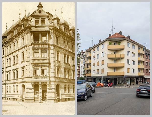 Das Eckhaus Bleichstraße 2, aufgenommen 1912 und 2018.