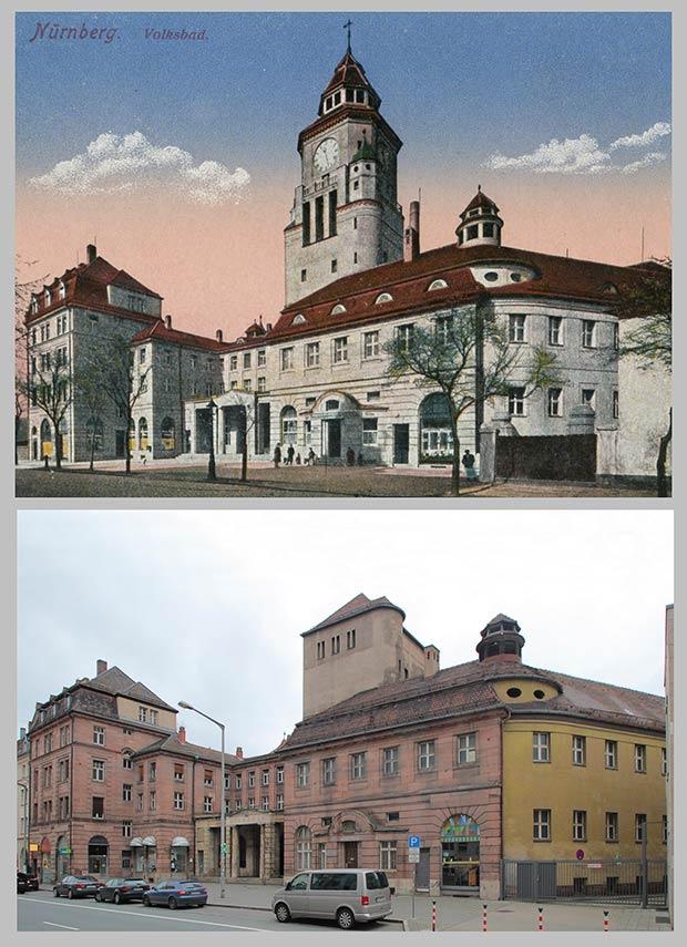 Das Volksbad in der Rothenburger Straße 10, aufgenommen 1918 und 2014.