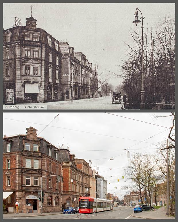 Die Einmündung der Jagd- in die Bucher Straße, aufgenommen 1915 und 2015.
