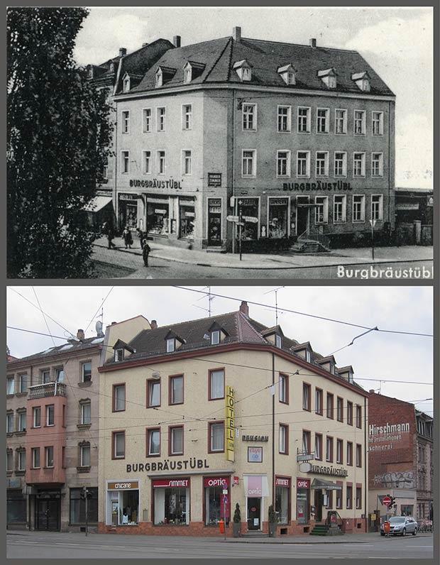 Das Eckhaus Jagdstraße 1, aufgenommen zwischen 1950 und 1957 und 2014.