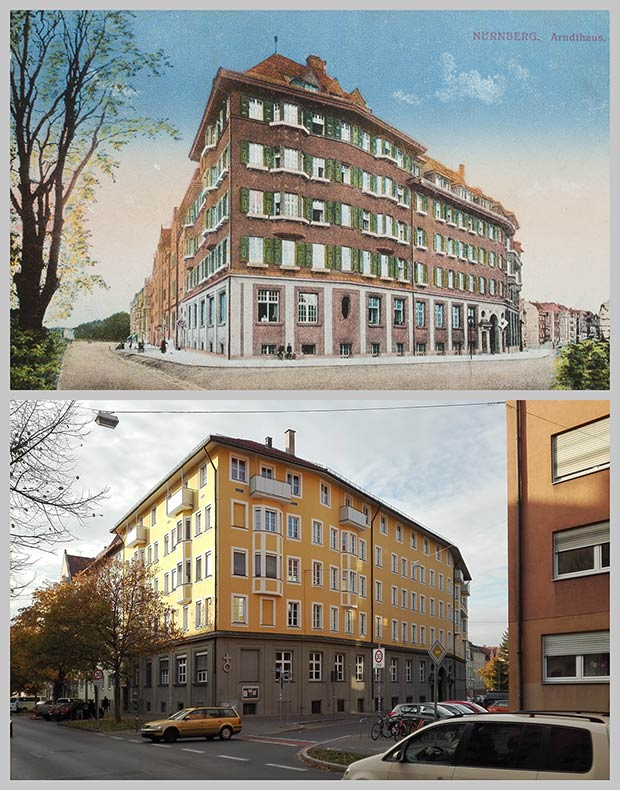Das Arndthaus an der Ecke Hummelsteiner Weg und Gudrunstraße, aufgenommen zwischen 1914 und 1918 und 2018.