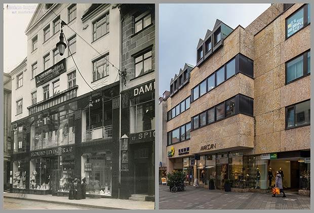Das Haus Kaiserstraße 15, aufgenommen 1908 und 2018.