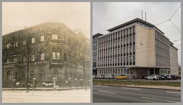Das Anwesen Marientorgraben 9, aufgenommen 1927 und 2018.