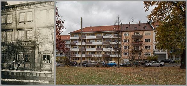 Das Haus Spittlertorgraben 35, aufgenommen 1913, und die Wohnanlage Spittlertorgraben 31 bis 35, aufgenommen 2018.
