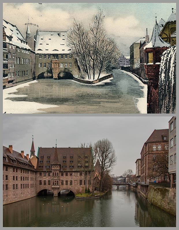 Blick von der Museumsbrücke auf das Heilig-Geist-Spital, aufgenommen 1904 und 2018.