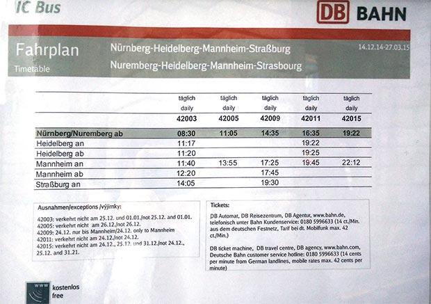 Abfahrtsplan IC-Bus Nürnberg