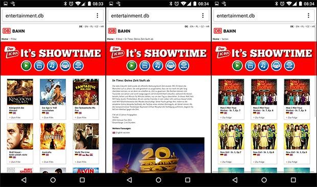 Screenshots aus dem Entertainment-System