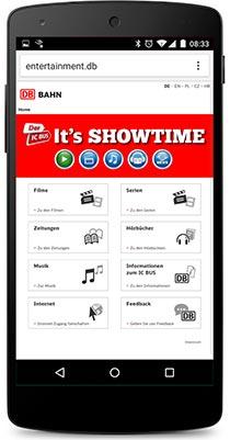 Startseite des IC-Bus Entertainment-Systems
