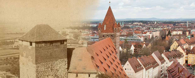 Fünfeckiger Turm, Kaiserstallung und Luginsland – einst und jetzt